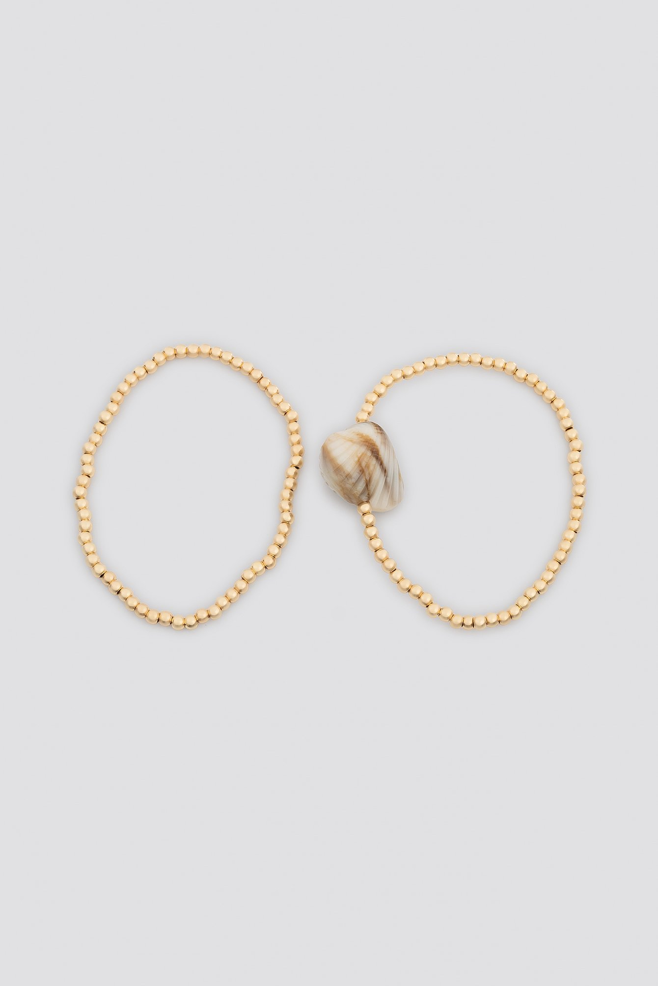 Gold Shell Detailed Double Bracelets