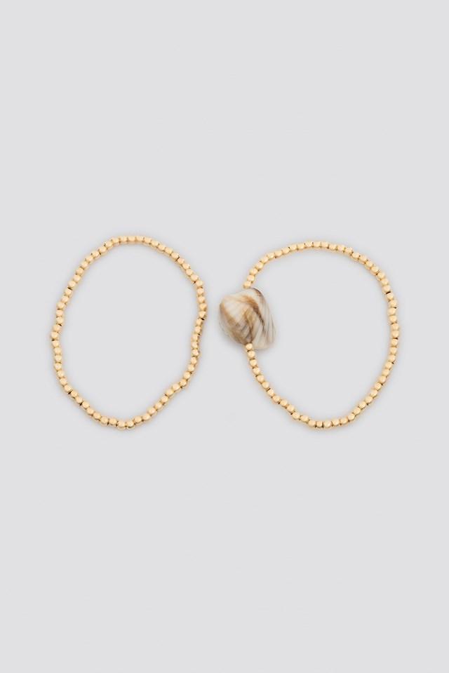 Shell Detailed Double Bracelets Gold