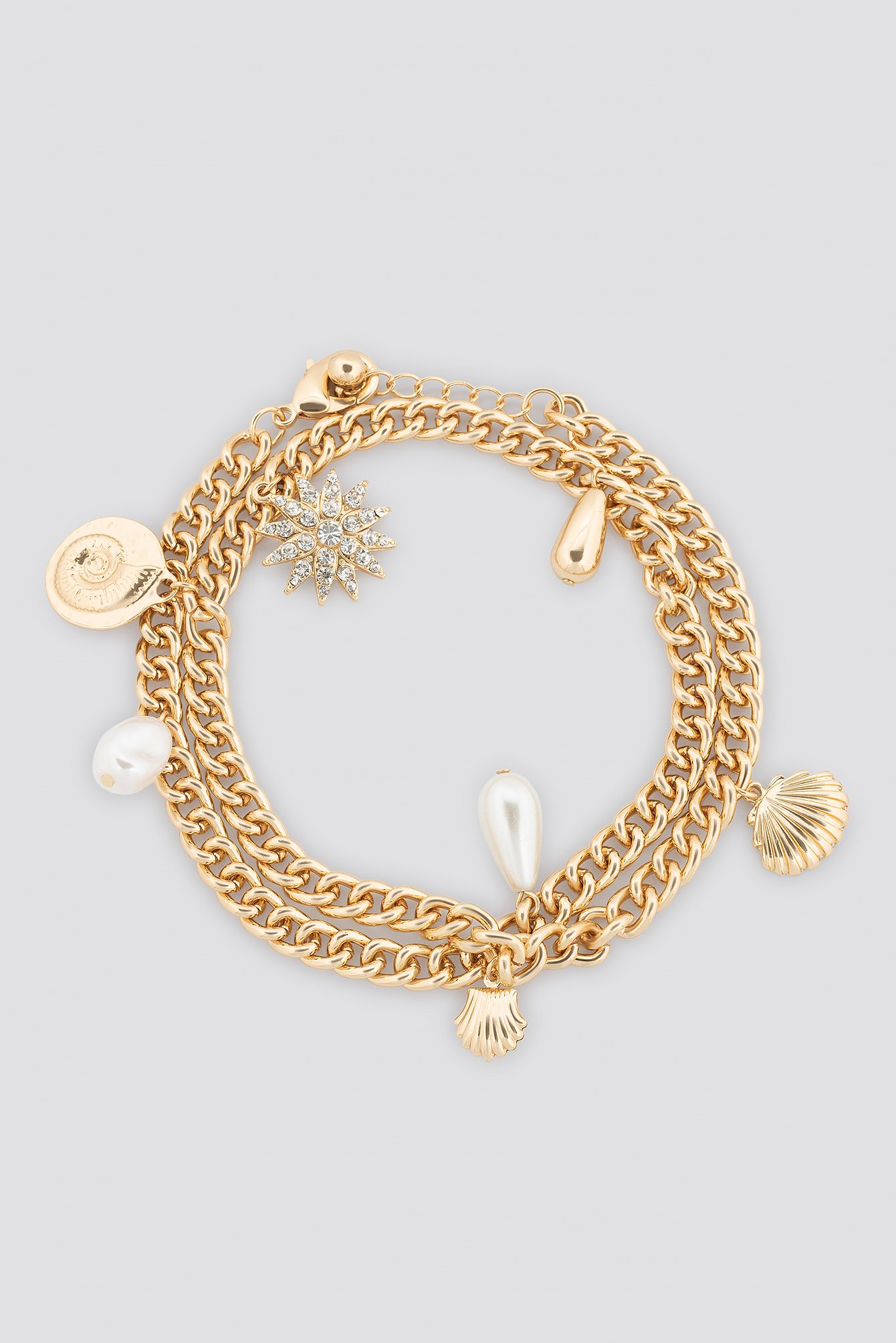 na-kd accessories -  Shell Pendant Chain Bracelet - Gold