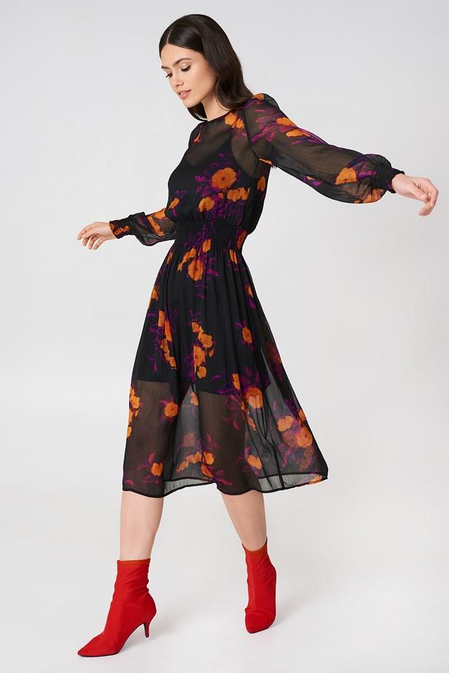 Shirred Detail Midi Dress Orange/Purple Print