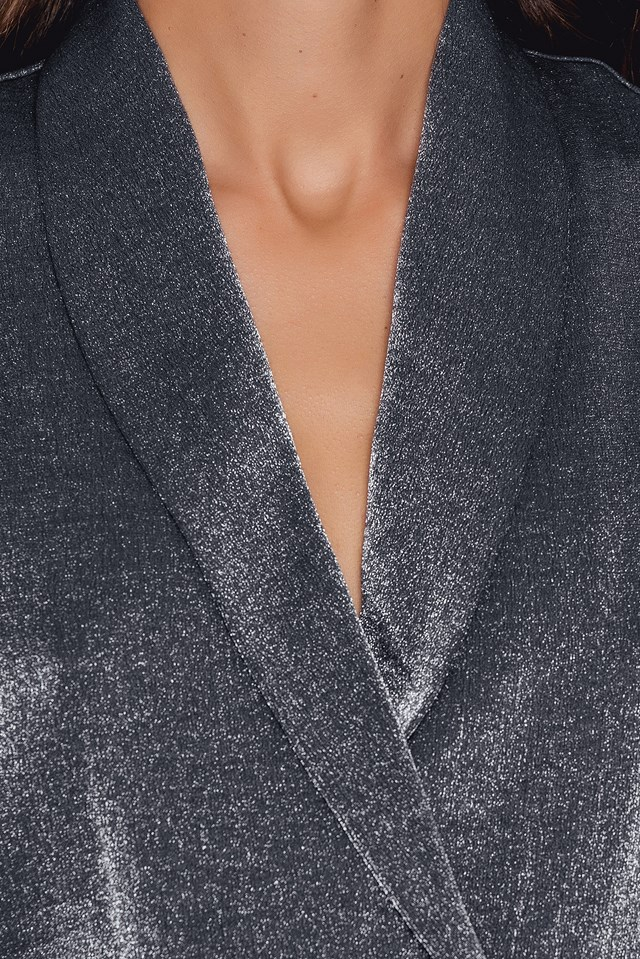 Shimmery Double Breasted Vest Silver