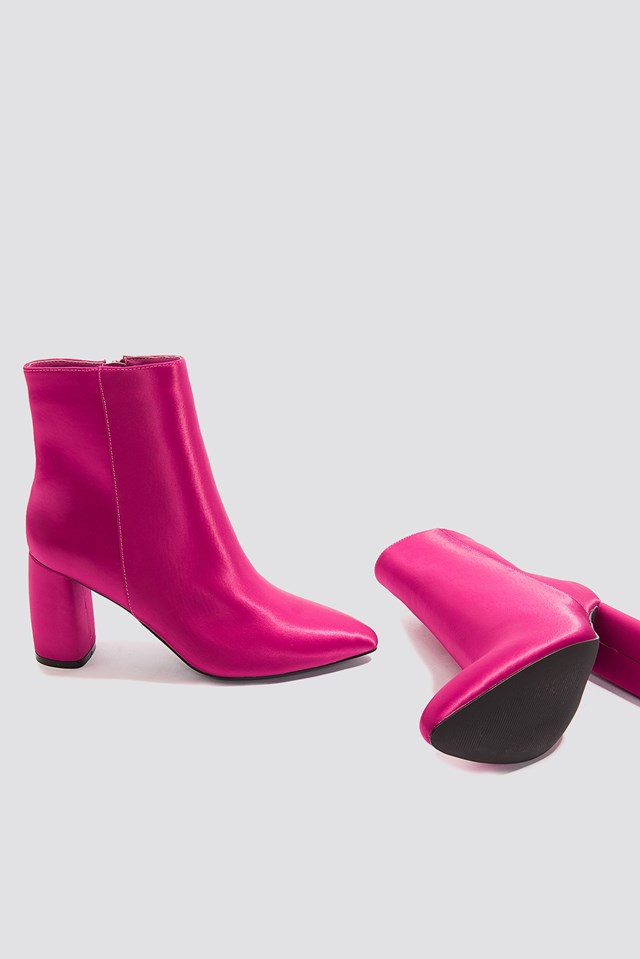Shiny Ankle Boots Pink