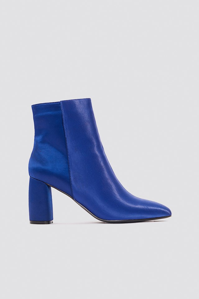 Shiny Ankle Boots Dark Blue