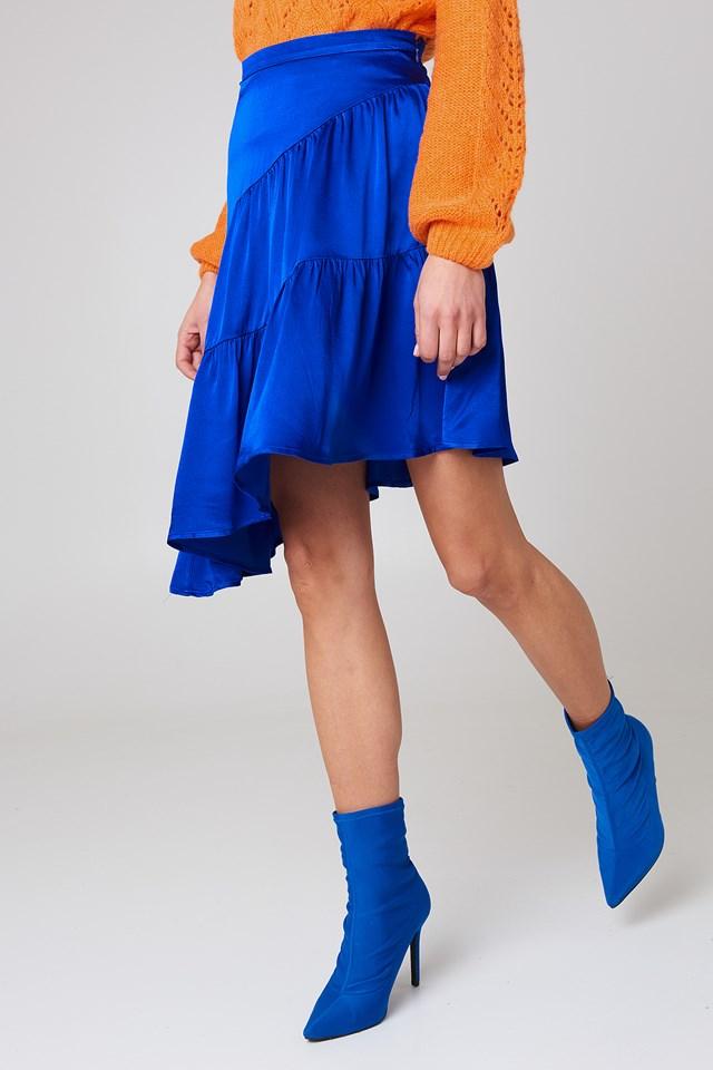 Shiny Asymmetric Skirt Cobalt