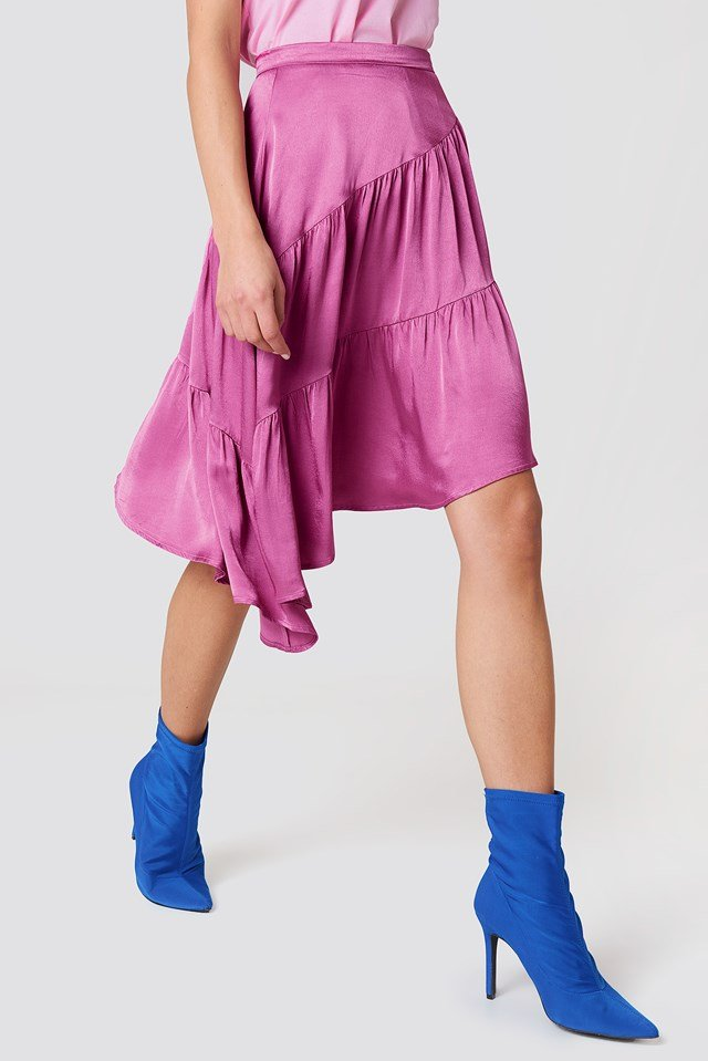 Shiny Asymmetric Skirt Pink Rose