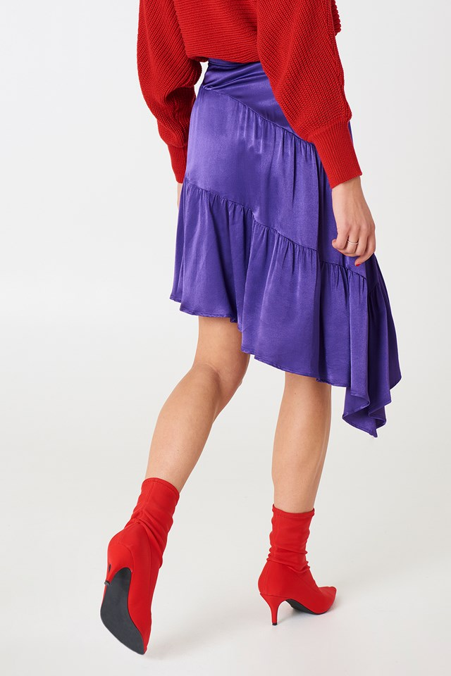 Shiny Asymmetric Skirt Strong Purple