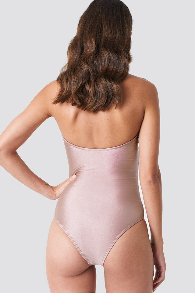 Shiny Bandeau Swimsuit Dusty Pink
