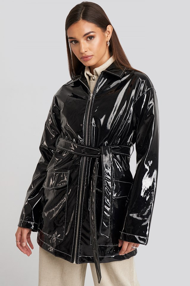 Shiny Contrast Seam Pu Jacket Black