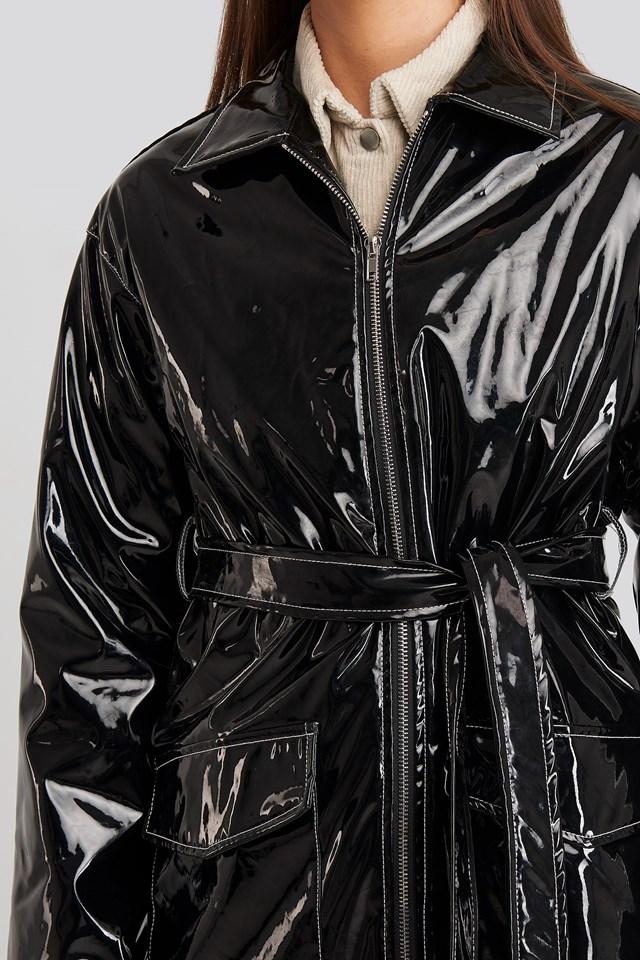Shiny Contrast Seam Pu Jacket Black