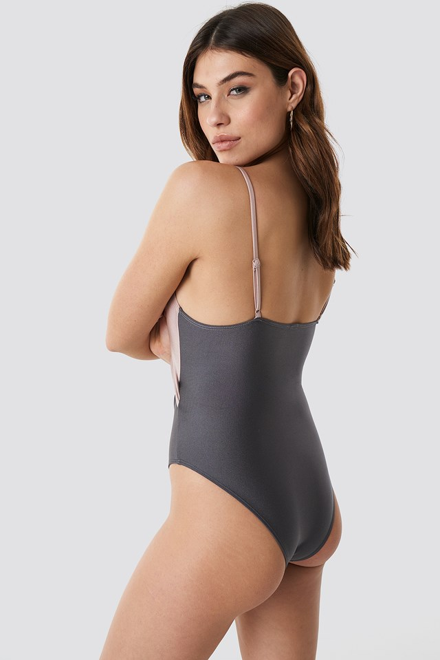 Shiny Cut Out Block Swimsuit Sand Combo