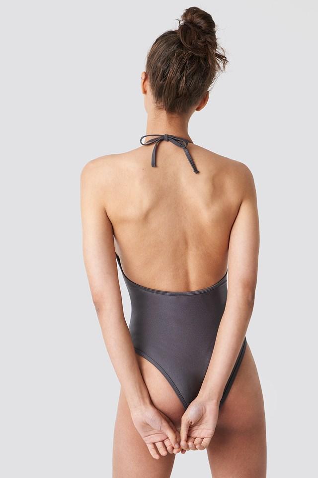 Shiny Cut Out Halterneck Swimsuit Dusty Blue Grey