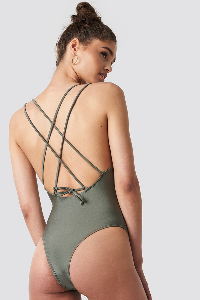 Shiny Double Cross Strap Swimsuit Khaki Green