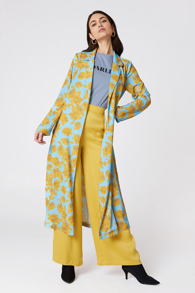 Shiny Fluid Trenchcoat Light Blue/Yellow