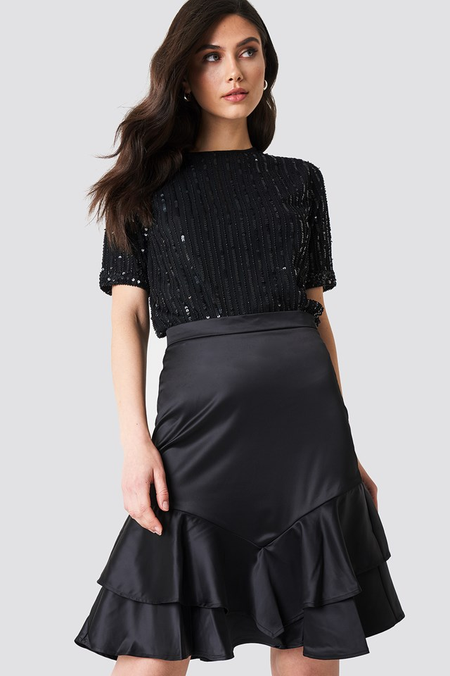 Shiny Frill Skirt NA-KD Party