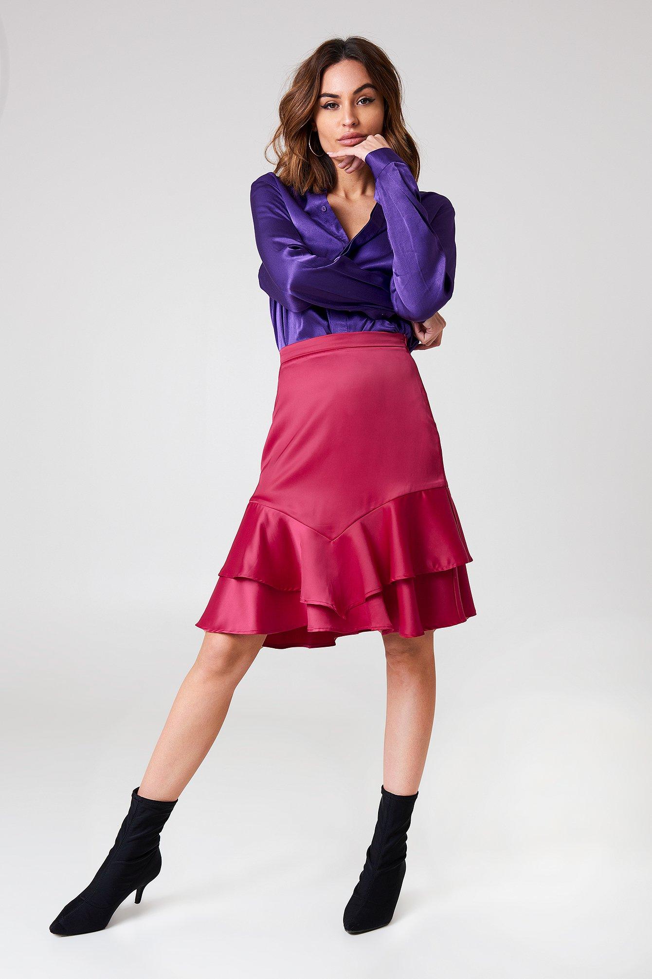 Shiny Frill Skirt NA-KD.COM