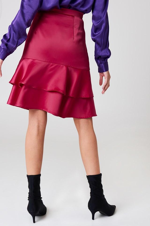 Shiny Frill Skirt Dark Pink