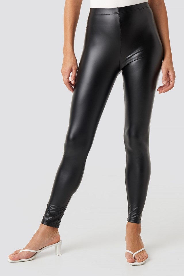Shiny High Waist Leggings Black