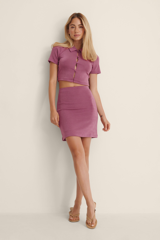 NA-KD Genanvendt Skinnende Kort Nederdel I Jersey - Purple