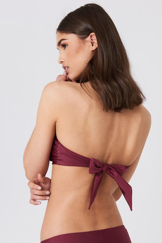 Shiny Metal Detail Bandeau Bikini Burgundy