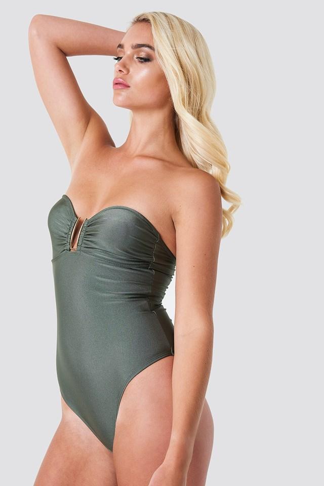 Shiny Metal Detail Bandeau Swimsuit Khaki Green