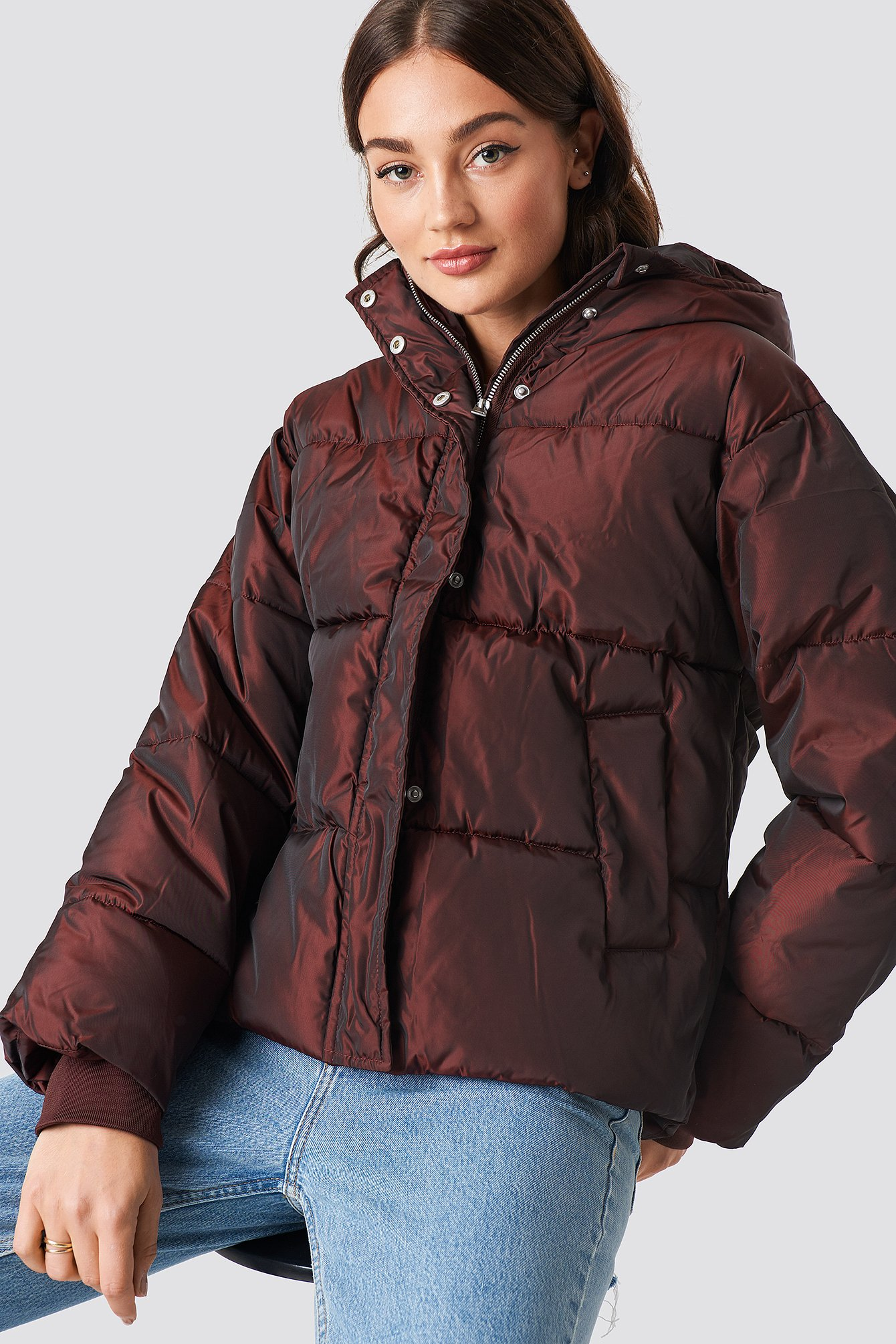 na-kd -  Shiny Padded Jacket - Brown,Red