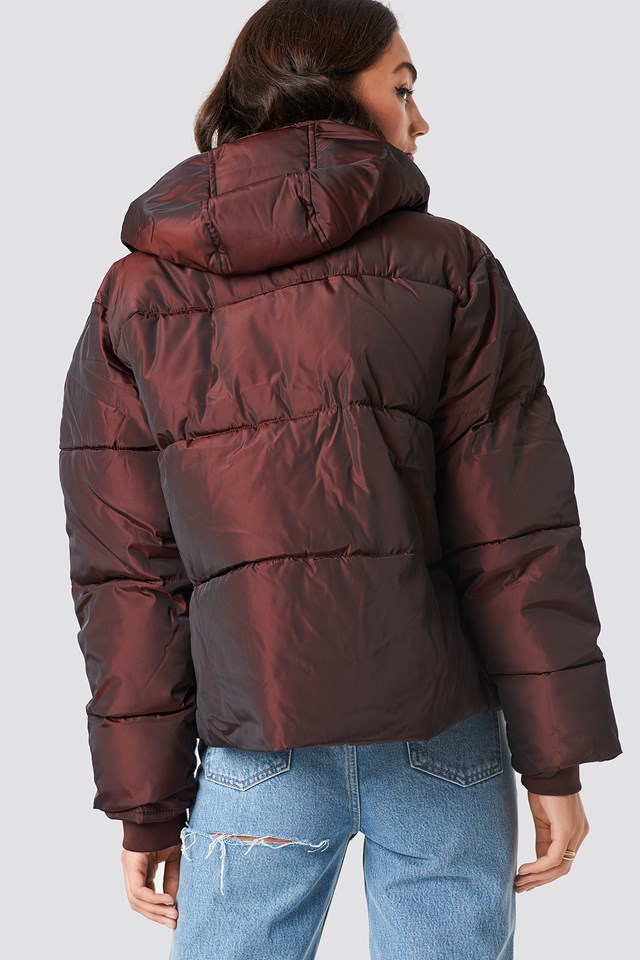 Shiny Padded Jacket Burgundy