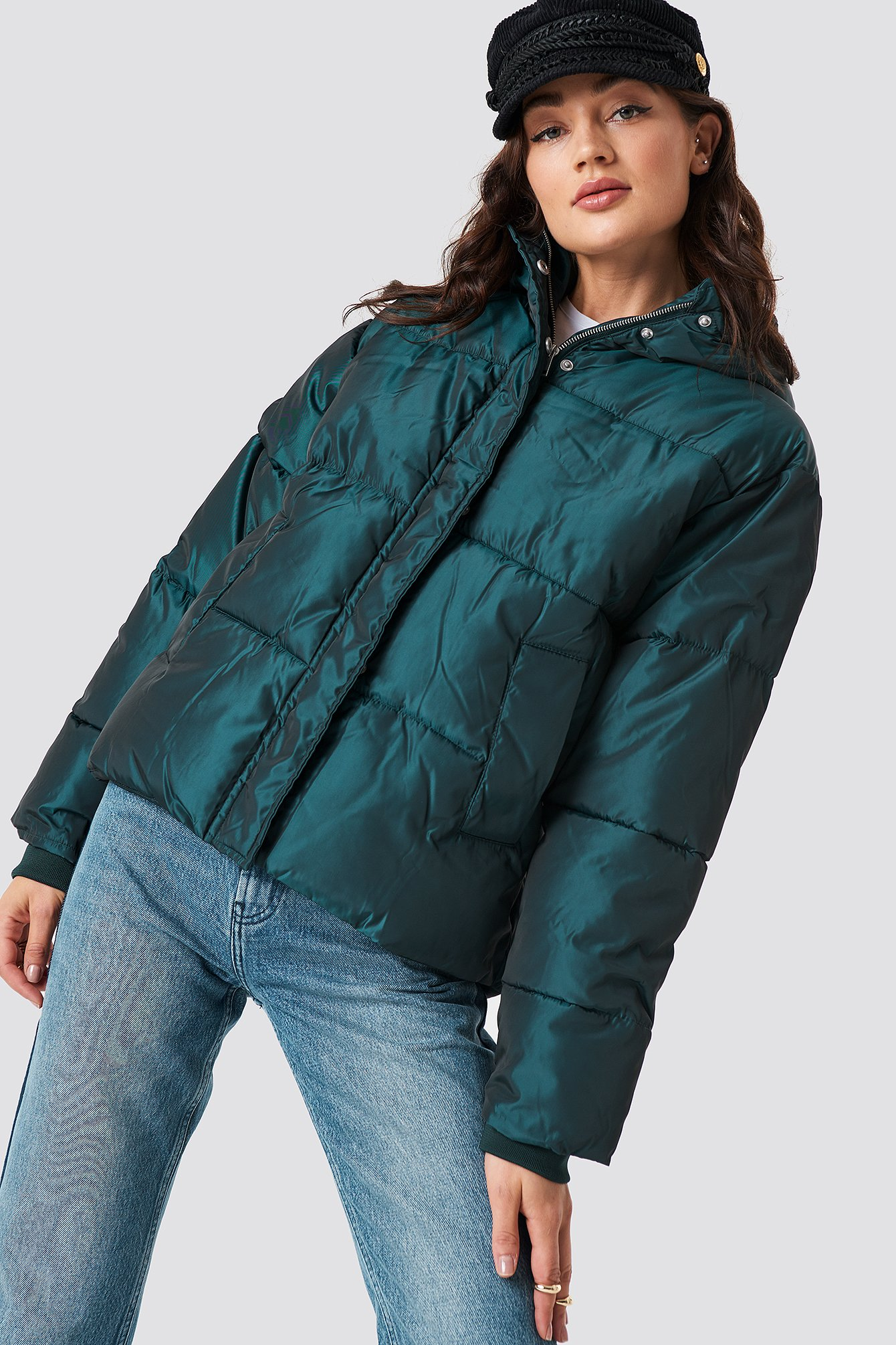 na-kd -  Shiny Padded Jacket - Green