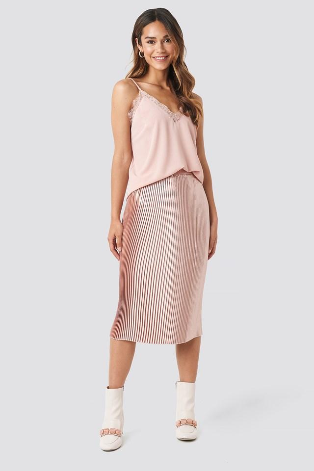Shiny Pleated Skirt Dusty Pink