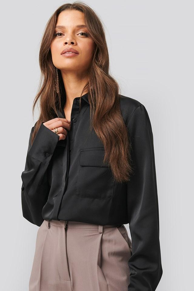 Shiny Pocket Shirt Black