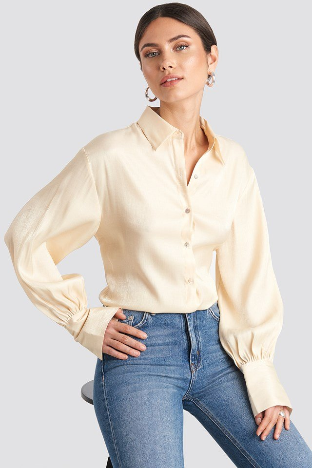 Shiny Puff Sleeve Blouse Pearl