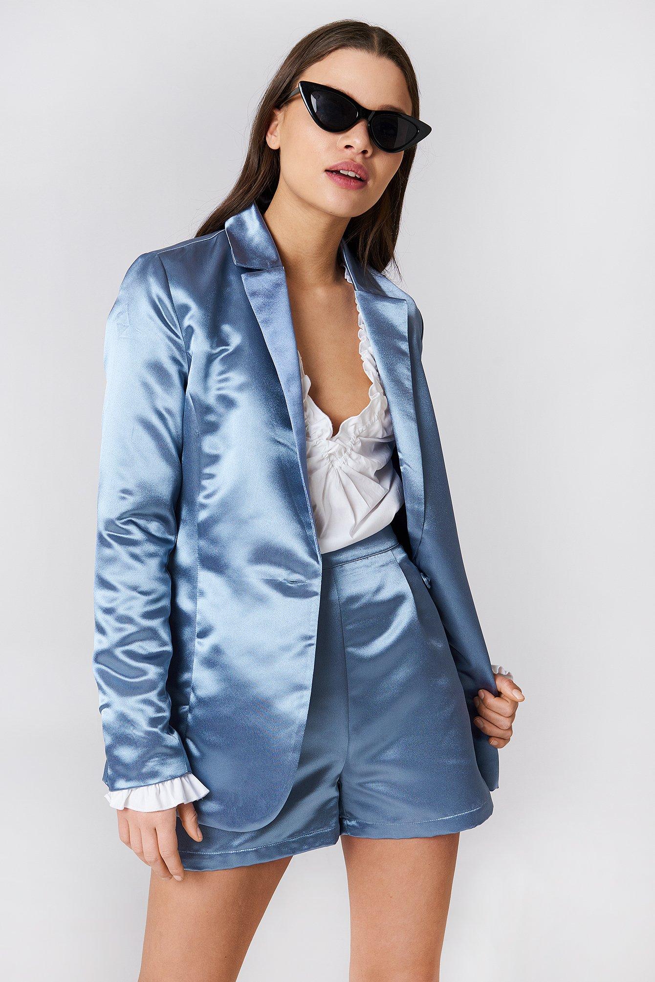 na-kd party -  Shiny Satin Blazer - Blue