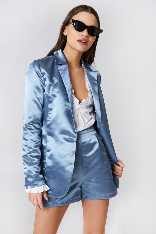 Shiny Satin Blazer Blue Stone