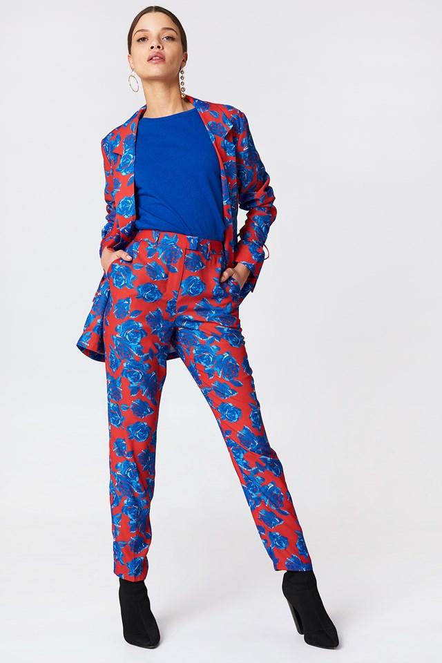 Spodnie garniturowe z połyskiem Red/Blue