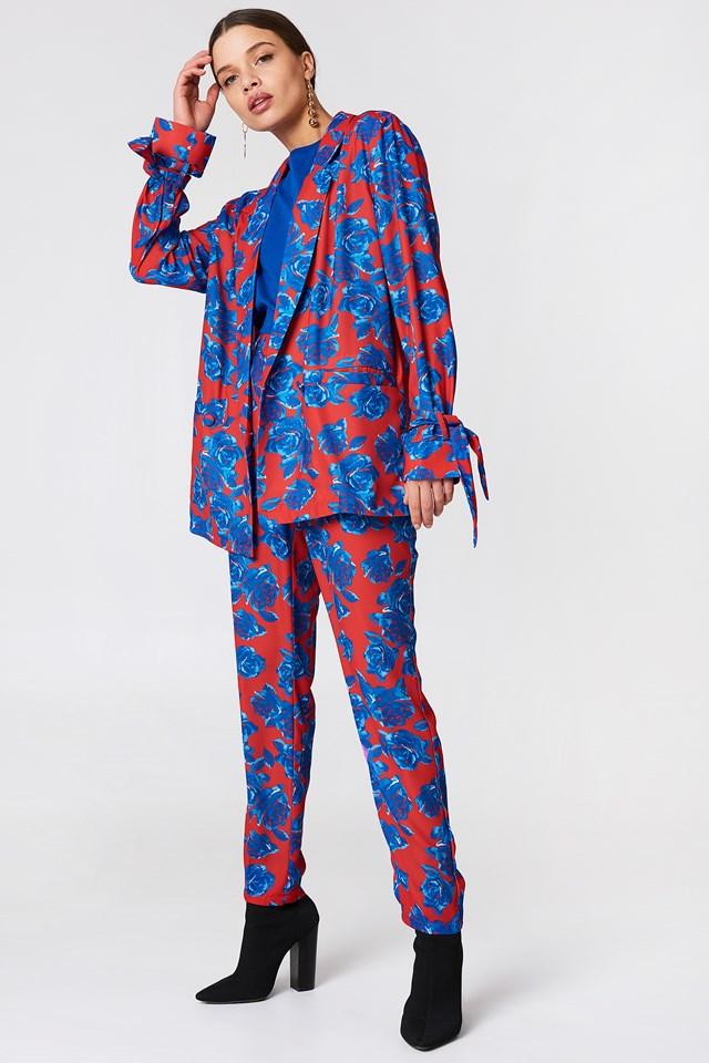Shiny Suit Pants Red/Blue