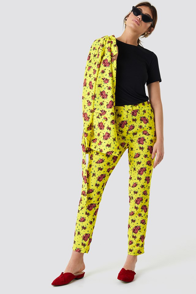 Shiny Suit Pants Yellow Flower