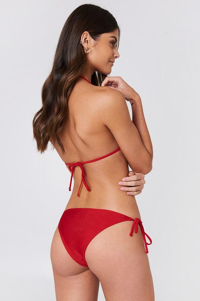 Shiny Triangle Bikini Top Red