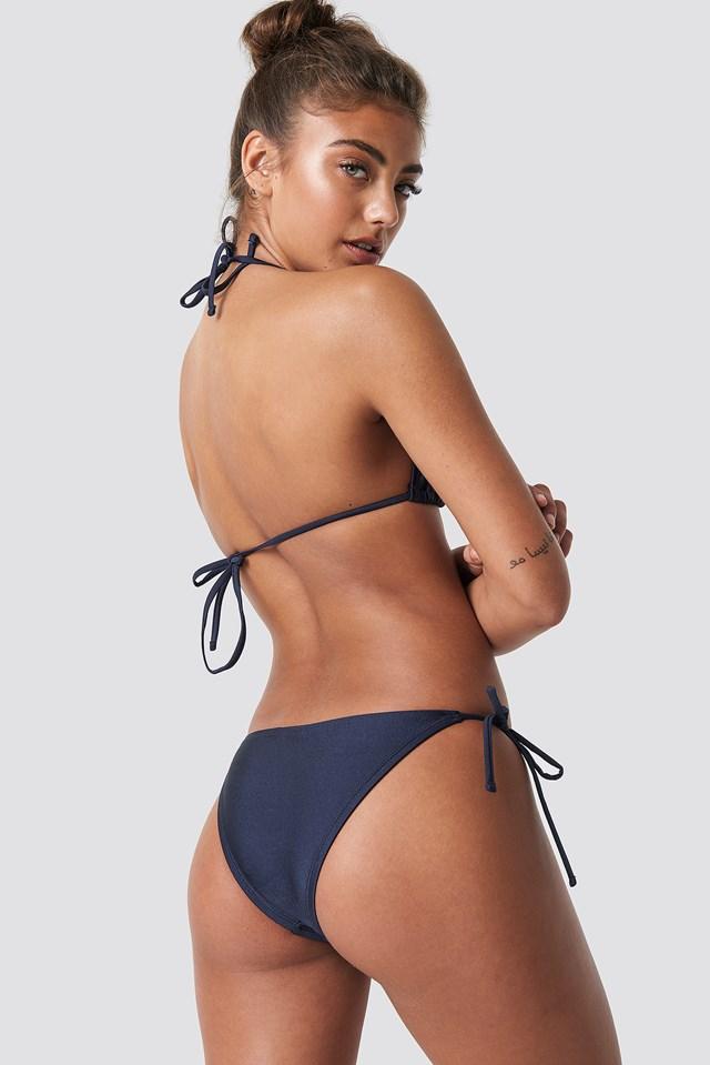 Shiny Triangle Bikini Top Dark Blue