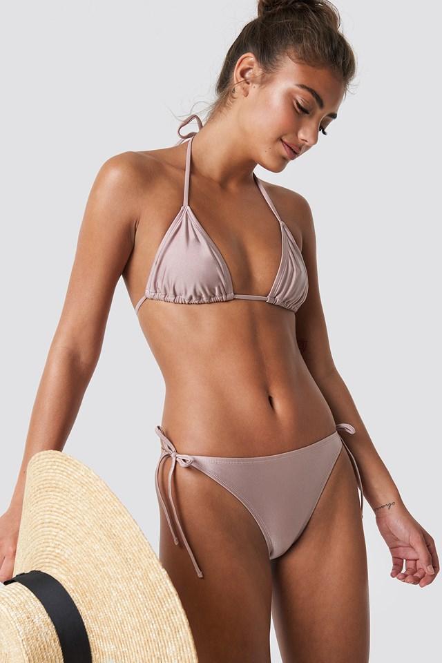 Shiny Triangle Bikini Top Dusty Pink