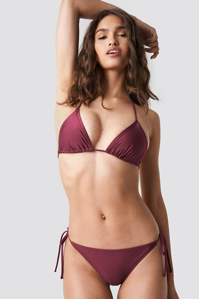 Shiny Triangle Bikini Top Burgundy