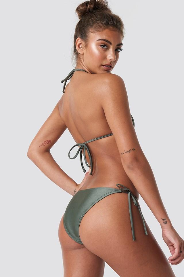Shiny Triangle Bikini Top Khaki Green