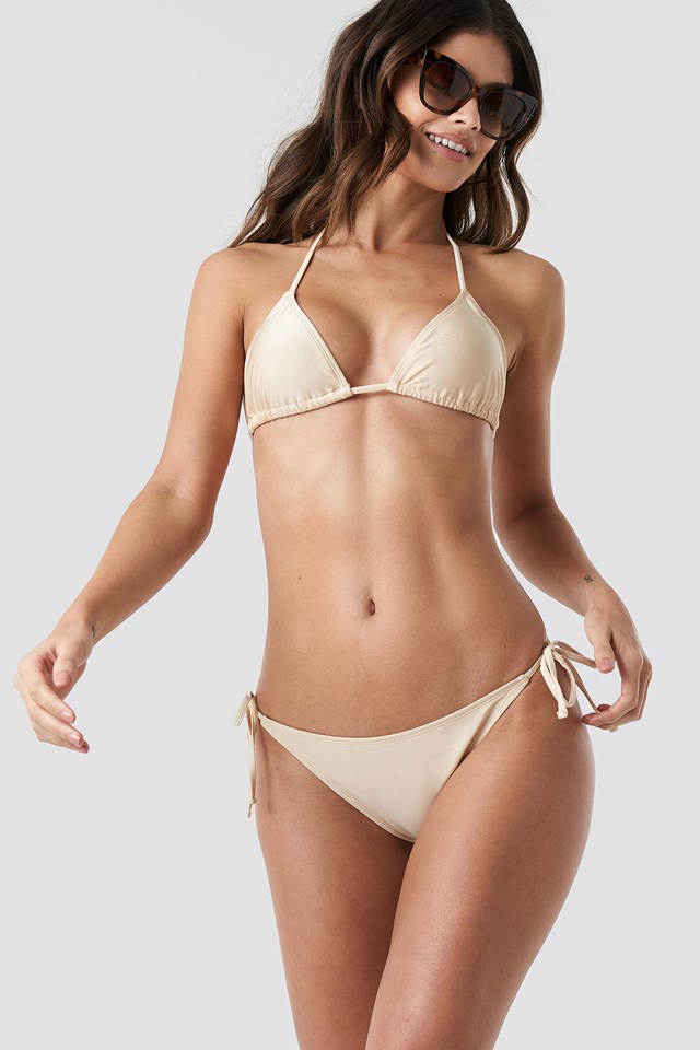 Shiny Triangle Bikini Top Beige