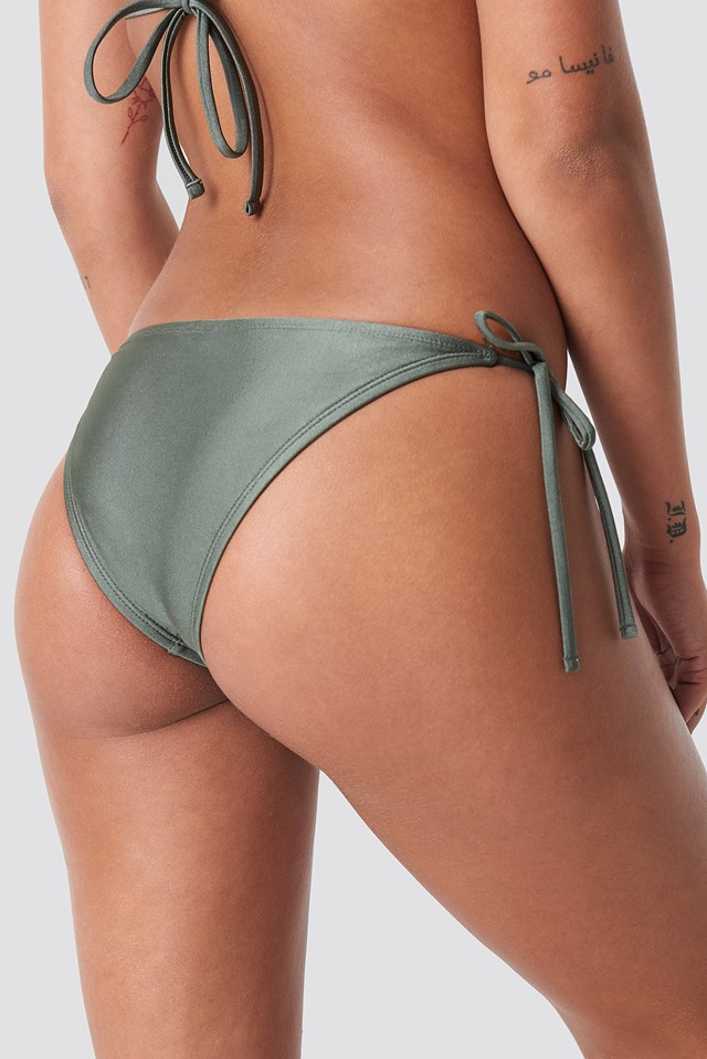 Shiny Triangle Panty Khaki Green