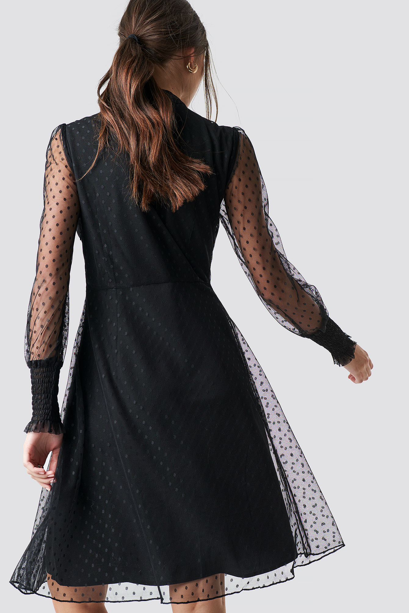 Shirred Cuff Dot Dress NA-KD.COM