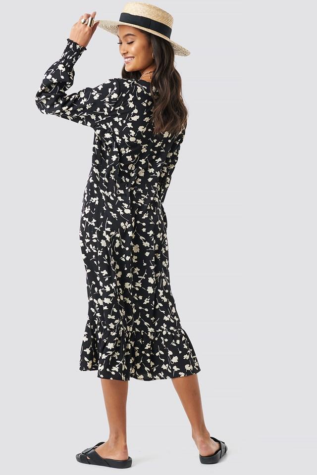 Shirred Cuff Flounce Dress Black Print