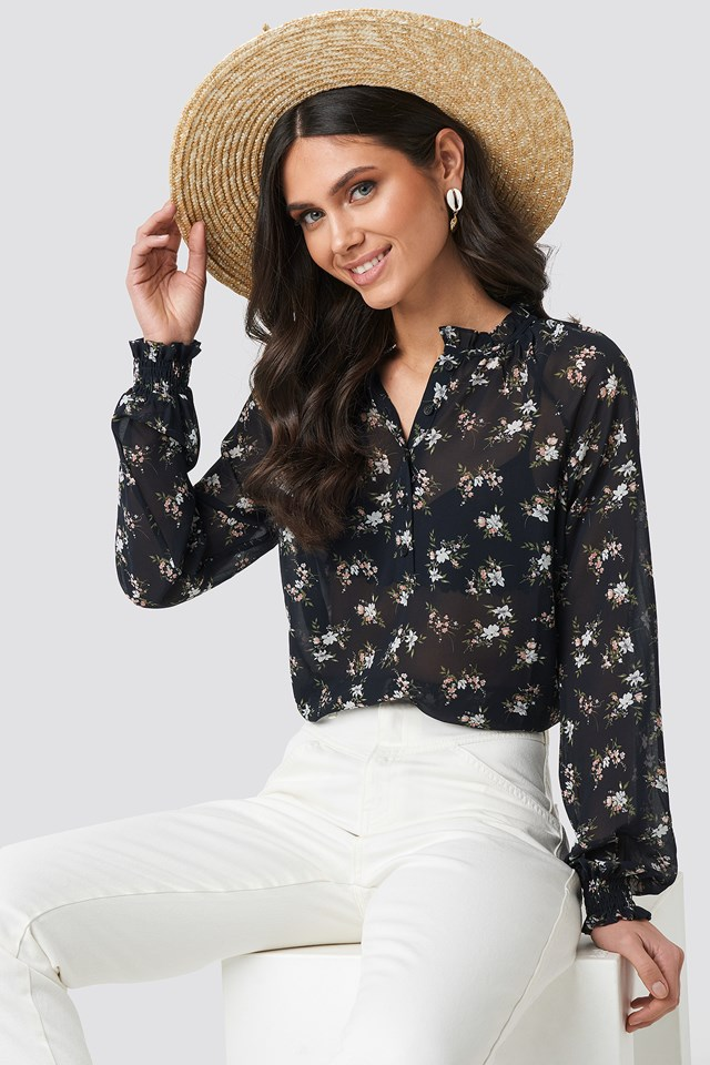 Shirred Cuff Frill Neck Top Black Flower Print