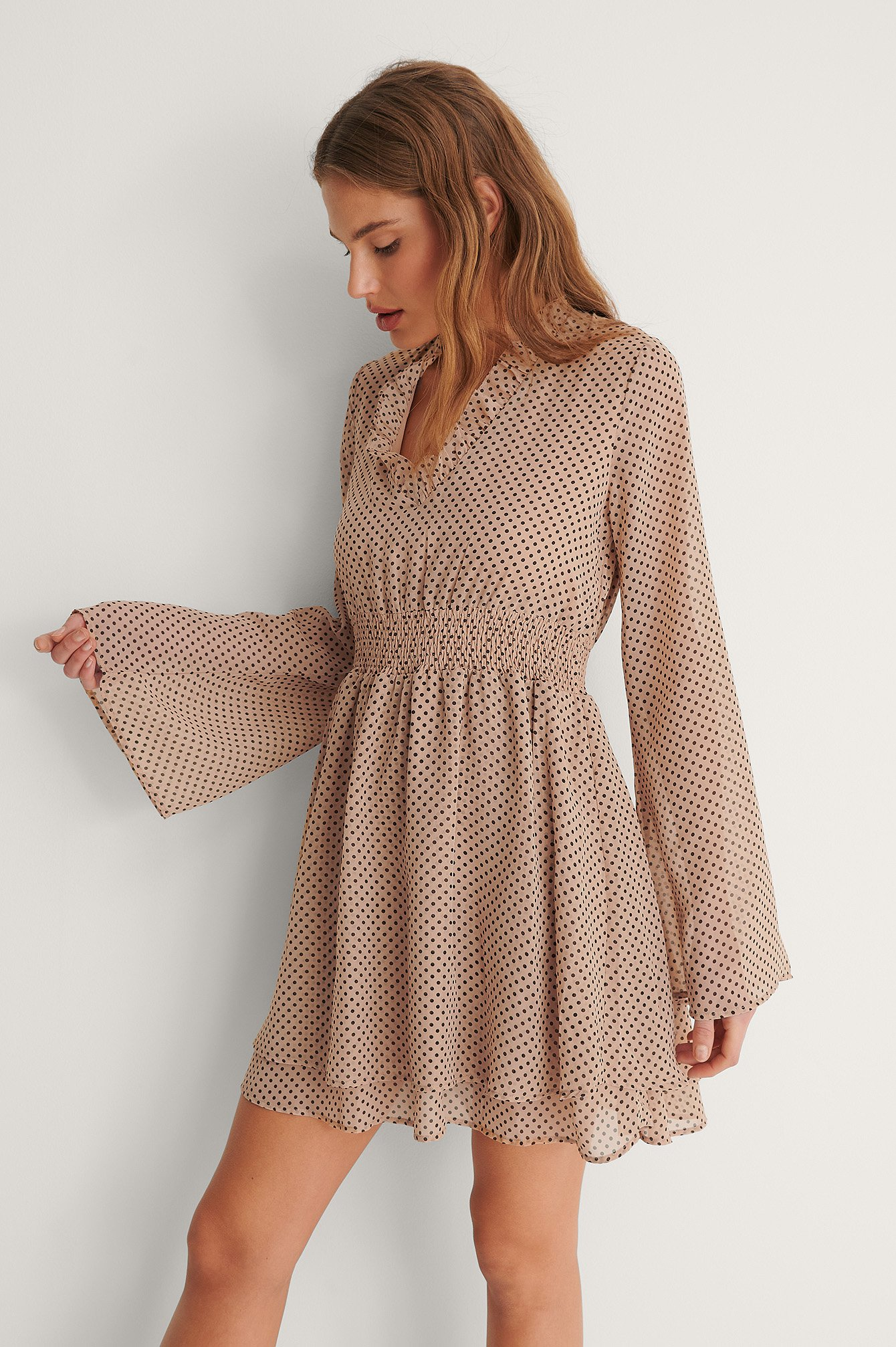 Dots Shirred Detail Dress