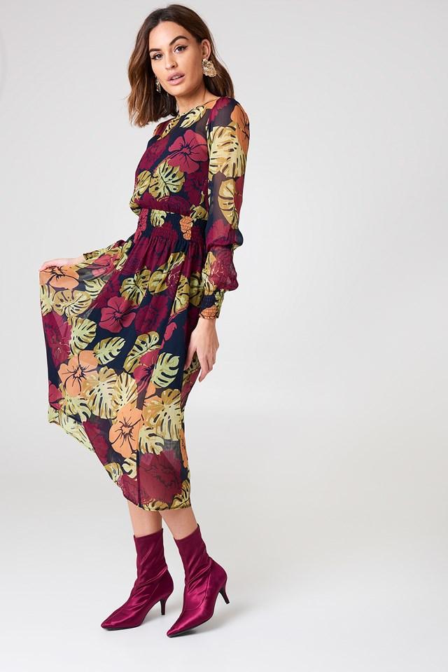Shirred Detail Midi Dress NA-KD.COM