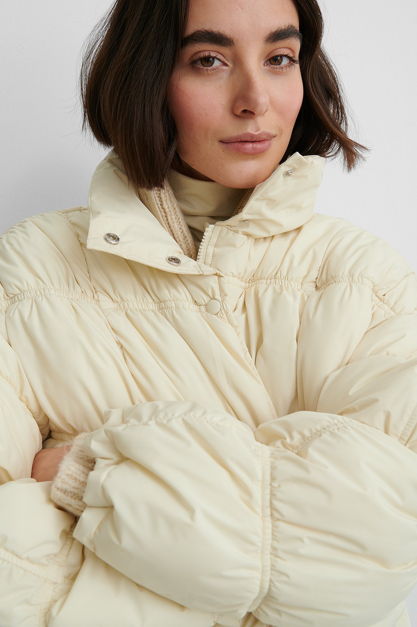 Cream Shirred Detail Padded Jacket