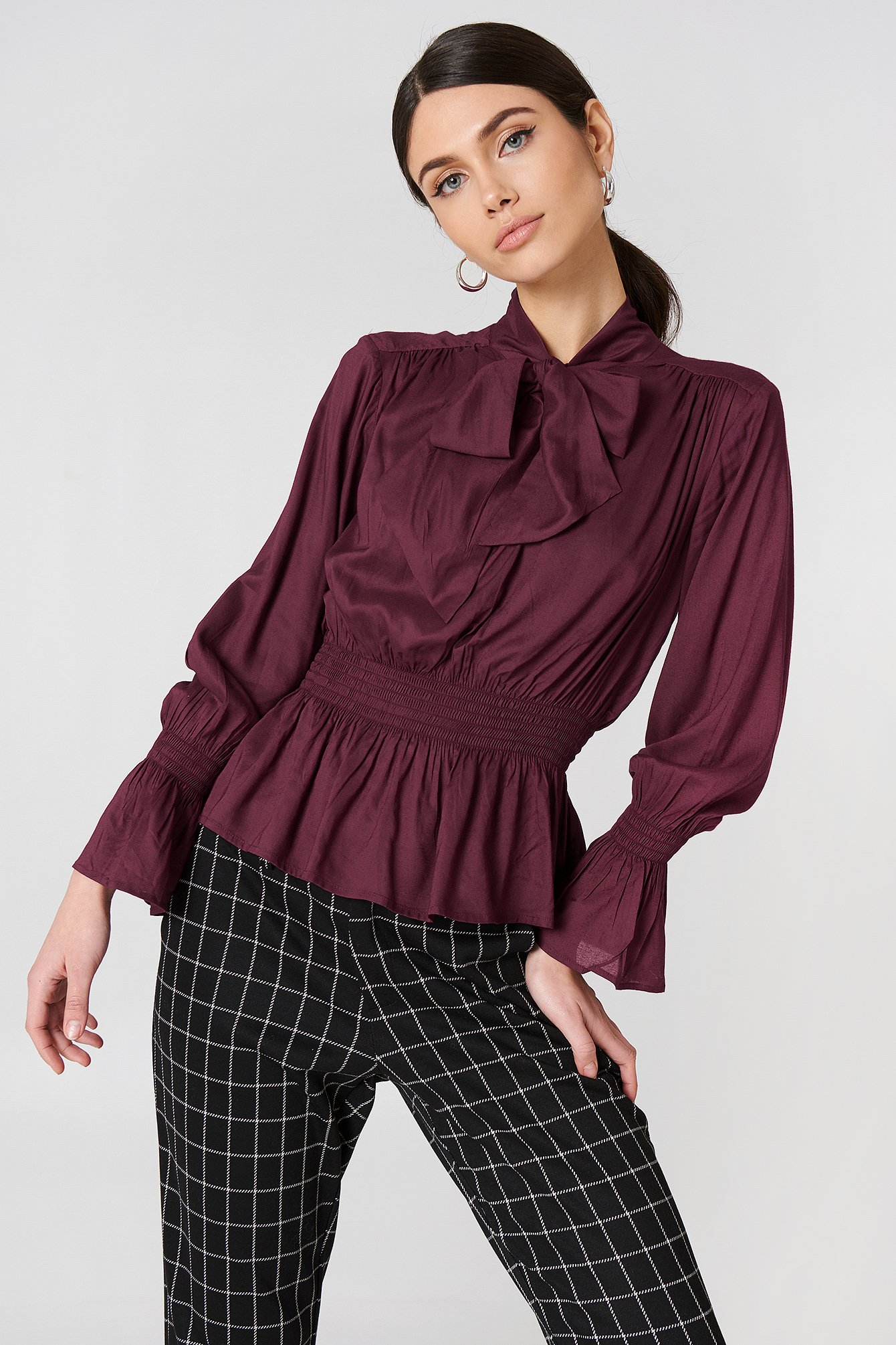 Shirred Detail Tie Neck Blouse