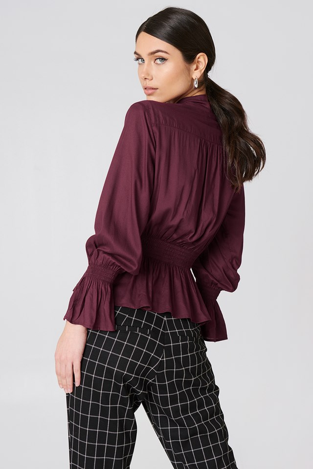 Shirred Detail Tie Neck Blouse Maroon